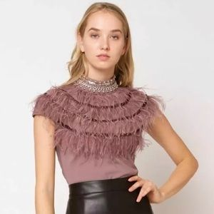 Gracia beaded mock neck feather top